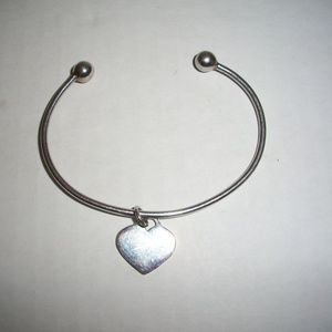 Solid Silver Charm Bangle Bracelet